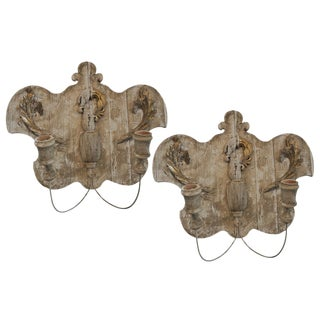 Pair of Wood Fragments Sconces