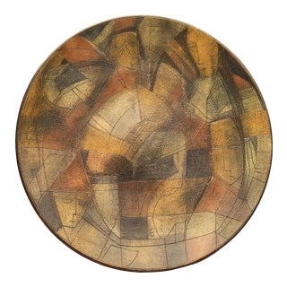 Theo and Susan Harlander Decorative Cubist Pottery Charger Platter For Sale