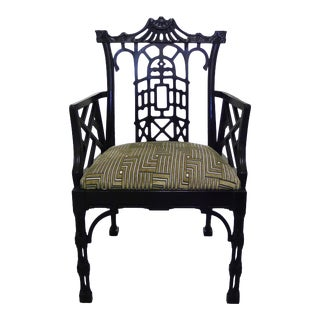 Chinese Chippendale Style Black Armchair
