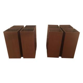 Bronze 4 Cube Lightolier Flush Mount - Pair For Sale