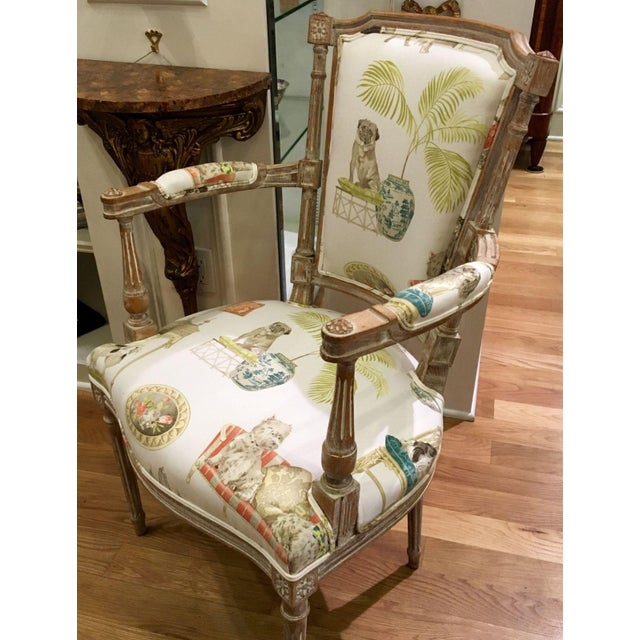 Antique Directoire Chairs with Dogs Fabric - Pair - Image 3 of 4