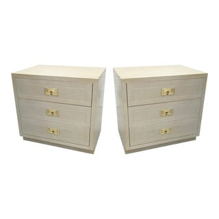 1970s Vintage Henredon Scene One Campaign Style Nightstands - A Pair For Sale