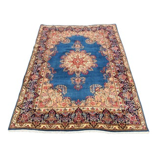 Persian Kirman Blue Handknotted Area Rug - 8x12