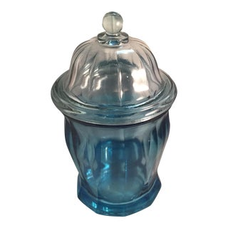 1990s Blue Glass Ribbed Apothecary/Ginger Jar For Sale