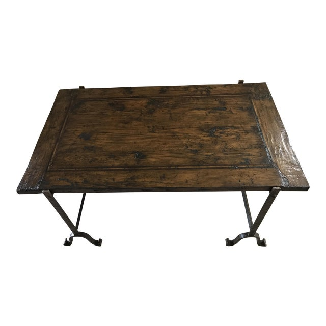 Wood & Iron Coffee Table For Sale