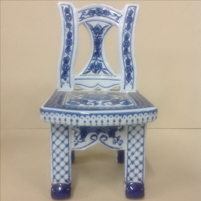Chinese Porcelain Blue & White Chair Plant Stand For Sale - Image 4 of 6
