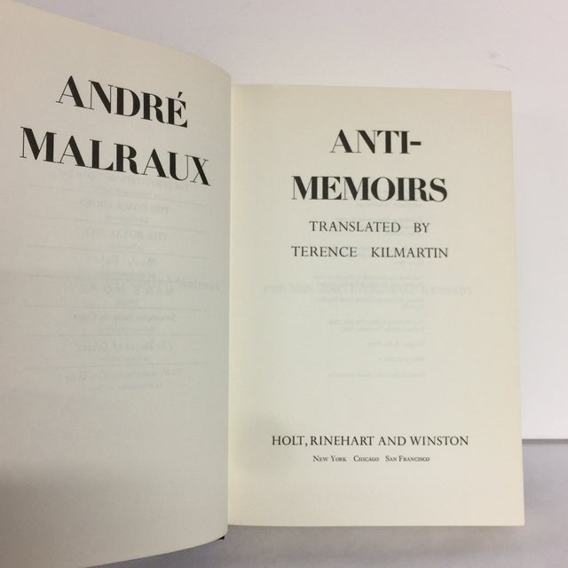 Anti-Memoirs Andre Malraux 1968 For Sale - Image 5 of 8