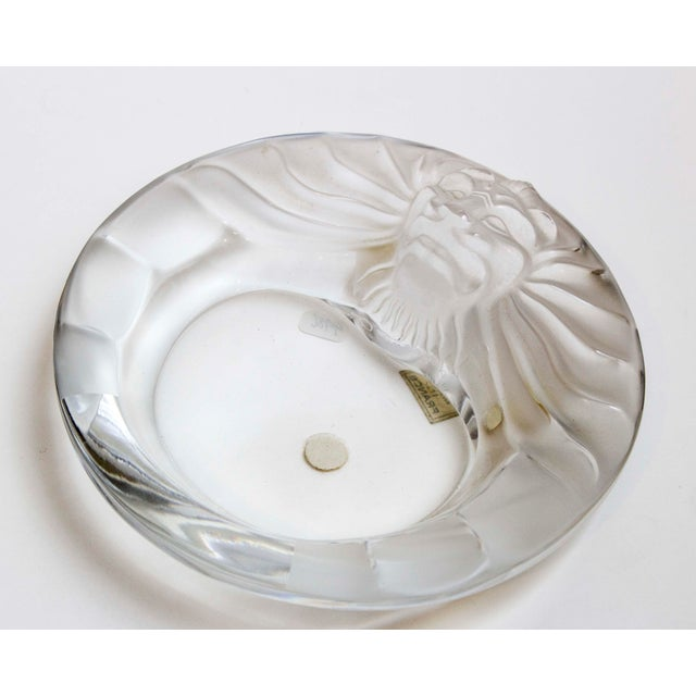 "Lions head ashtray by Lalique is a blend of frosted and smooth glass. Made in France 5.5"" Diameter x 1.75"" High"