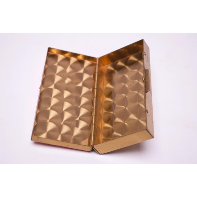 Metal Mid-Century Modern Enamel and Brass Cigarette Holder / Trinket Box For Sale - Image 7 of 10