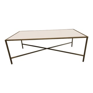 Contemporary Interlude Home Brass and Gray Leather Cocktail Table For Sale