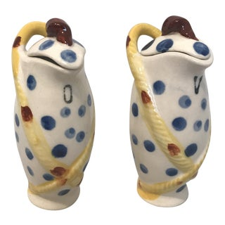 1960's Campaign-Style Ceramic Cruet Set - a Pair For Sale