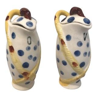1960's Napoleonic Style Ceramic Cruet Set - A Pair