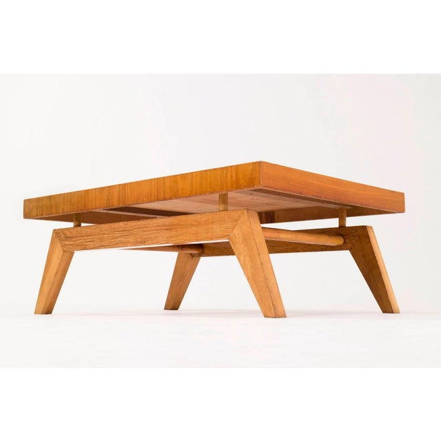 Rare Sam Maloof cocktail table, features floating top with splayed legs.