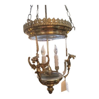 Vintage English Glass and Brass Lantern For Sale