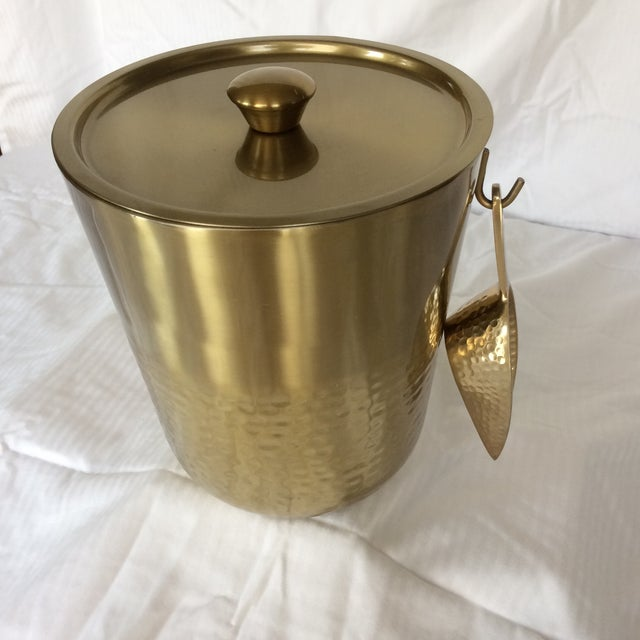 Gold Anodized Double Insulated Ice Bucket and Ice Scoop For Sale - Image 10 of 13