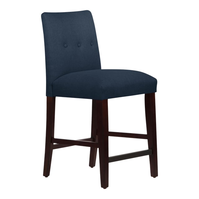 Tufted Linen Navy Tapered Counter Stool For Sale