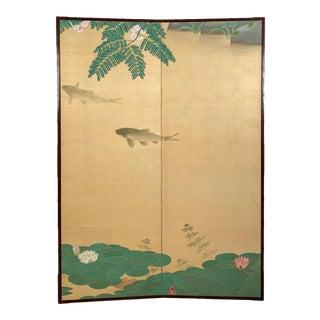 Circa 1920 2 Panel Screen, Japan For Sale