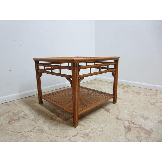 Campaign Vintage Mid-Century Campaign Faux Bamboo Carved End Table For Sale - Image 3 of 11