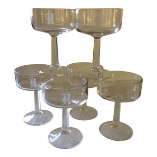 """""""H"""" Etched Crystal Champagne Glasses - Set of 6 For Sale"""