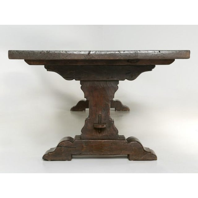Antique French Oak Trestle Dining Table For Sale - Image 4 of 13