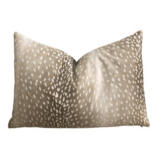 "Large Custom Lumbar Pillow in Designer ""Fawn"" Print For Sale"