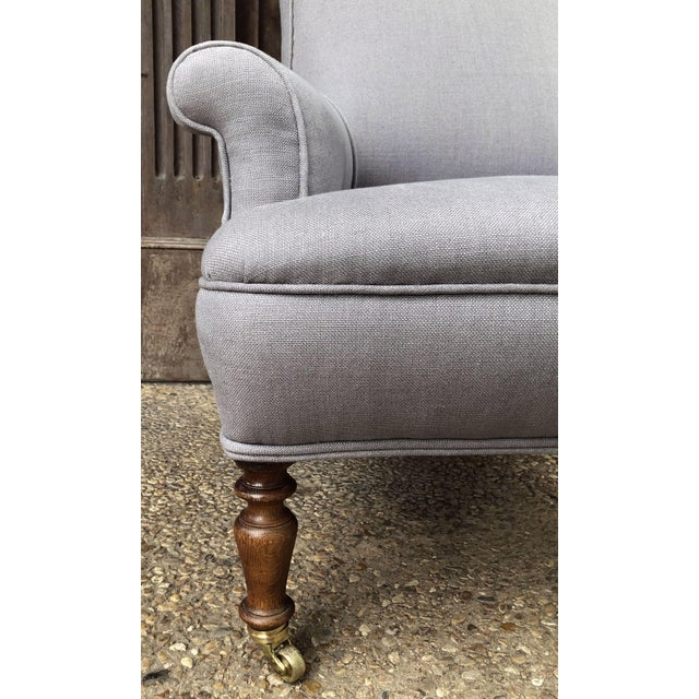 Linen Upholstery French Scroll-Back Armchair For Sale - Image 10 of 13