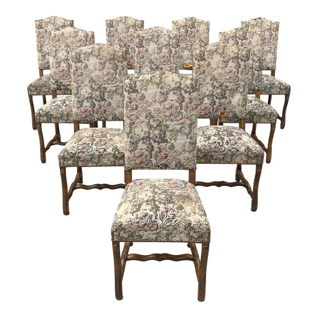 1900s Vintage French Louis XIII Style Os De Mouton Dining Chairs- Set of 10 For Sale - Image 13 of 13