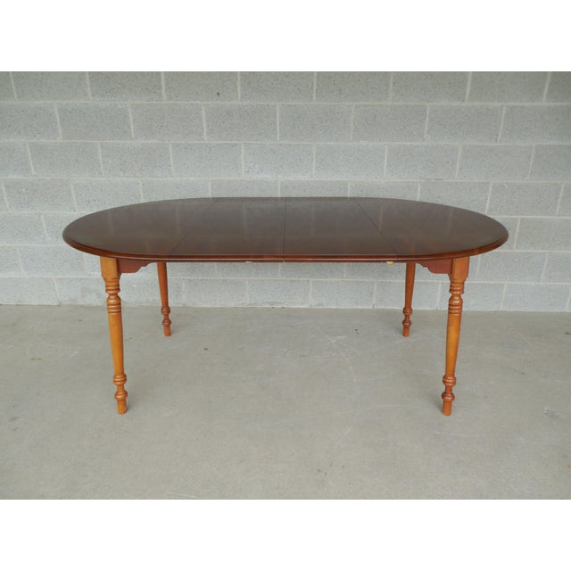 L. Hitchcock Cherry Harvest Stenciled Dining Extension Table - Image 2 of 10