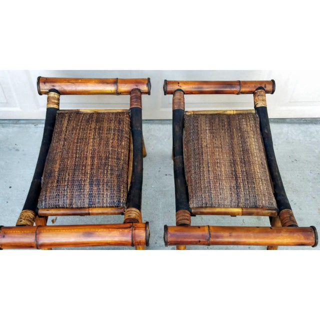 1960s Boho Chic Bamboo and Rattan Foot Stools - a Pair For Sale In Phoenix - Image 6 of 7