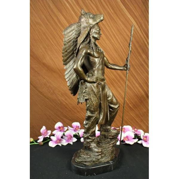 American Indian Wolf Bronze Art Deco Sculpture - Image 4 of 7