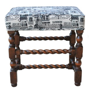Antique English Bench Stool Walnut Barley Twist London Upholstery Vanity Stool For Sale