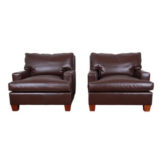 Baker Furniture Modern Brown Leather Lounge Chairs, Pair For Sale