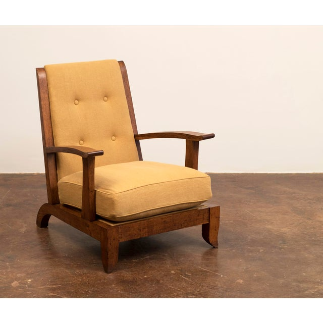 Linen Pair of French Lounge Chairs in Oak and Belgian Linen, 1940s For Sale - Image 7 of 13