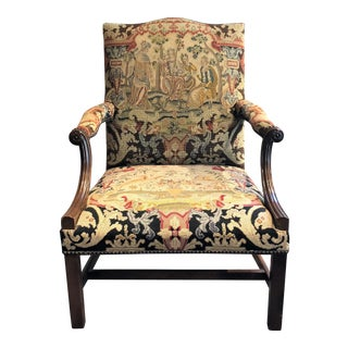 Pair Antique English George III Mahogany and Tapestry Armchairs, Circa 1800-1810. For Sale