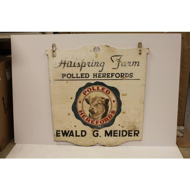 Vintage wooden double sided advertising sign for Hillspring Farm.