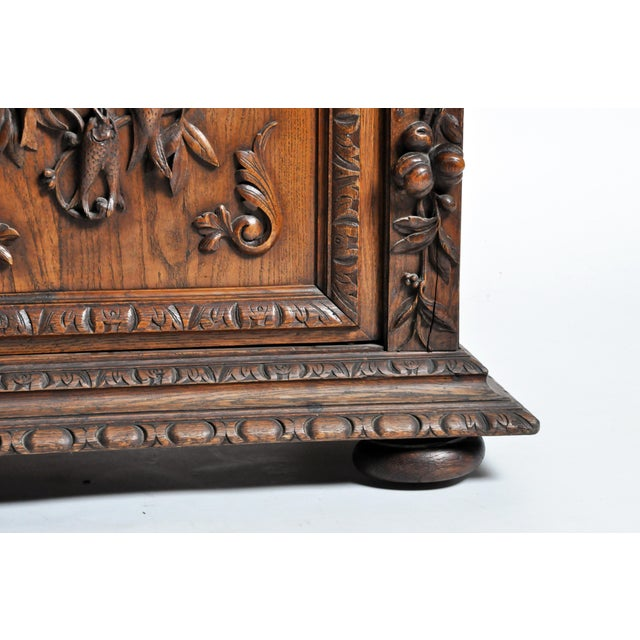 "French ""Black Forest"" Style Hunting Oak Buffet Cabinet For Sale - Image 11 of 11"