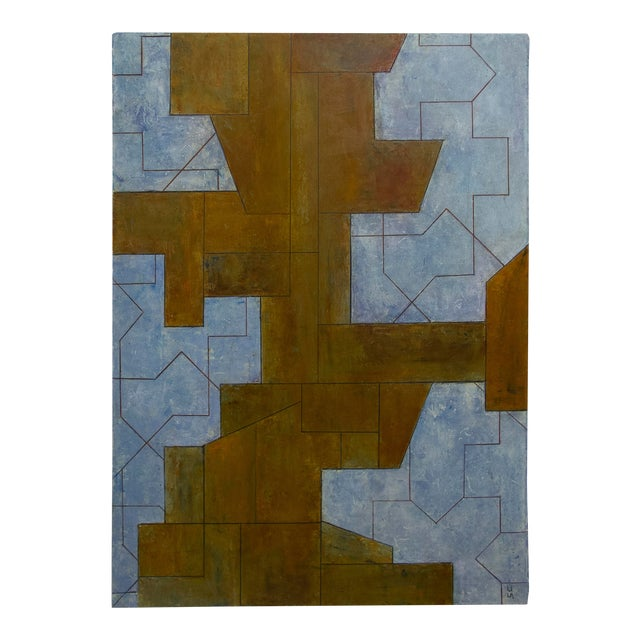 Ancient Modern Series Abstract Geometric Oil Painting on Paper Unframed For Sale