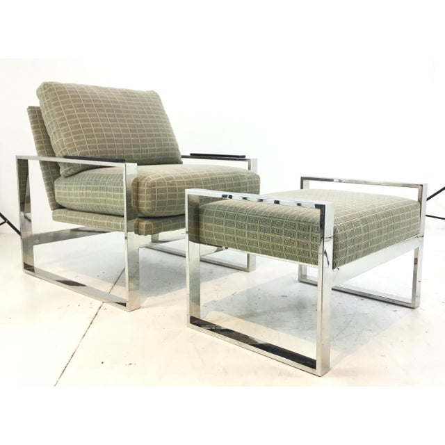 Mid-Century Modern Inspired Vanguard Greek Key and Chrome Chair and Ottoman Set For Sale - Image 9 of 9