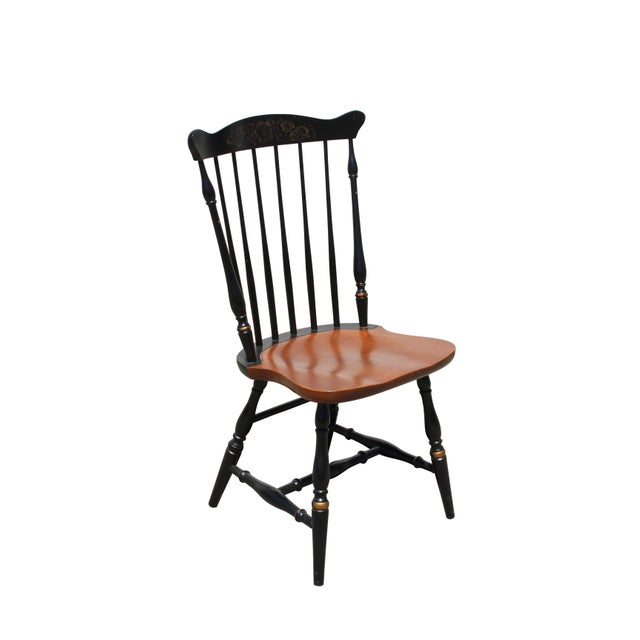 1900s Antique Hitchcock Primitive Dining Chairs - Set of 6 For Sale - Image 5 of 11