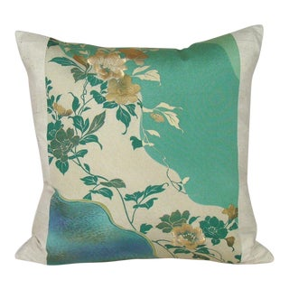 Cascading Roses Japanese Kimono Pillow Cover For Sale