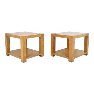Pair of Milo Baughman Burl Wood End Tables or Nightstands For Sale