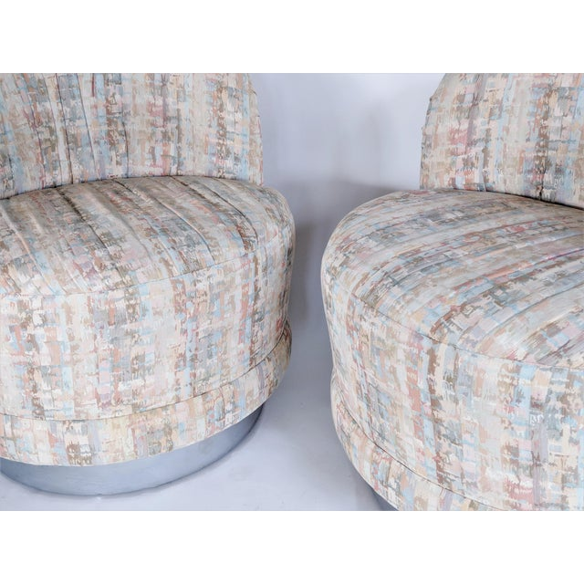 White Milo Baughman Style Swivel Lounge Chairs - a Pair For Sale - Image 8 of 10