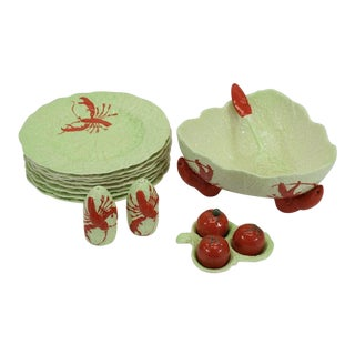 1960s Vintage Carlton Ware Green & Red Lobster Salad Serving Set of 16 For Sale