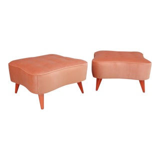 Pair of Billy Haines Oversized Orange Velvet Ottomans