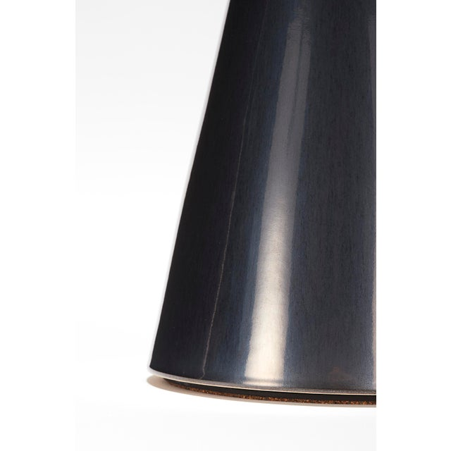 Stone and Sawyer Bauer Lamp in Anthracite Glaze With Walnut Cap - a Pair For Sale - Image 4 of 6