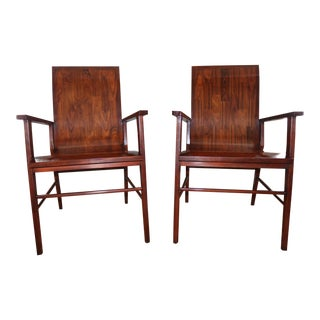 2 Theodore Alexander Mid-Century Modern Wood Arm Chairs Set by Keno Bros Collection Bentwood For Sale