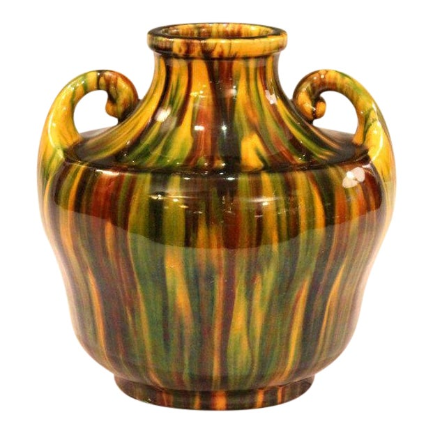 Awaji Pottery Art Deco Japanese Vintage Studio Vase in Yellow Flambe Glaze For Sale