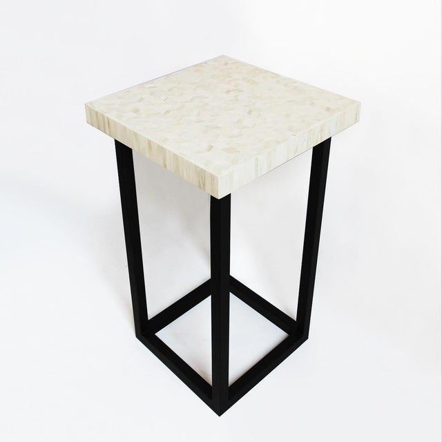 White Herringbone Inlay Side Table - Image 3 of 4