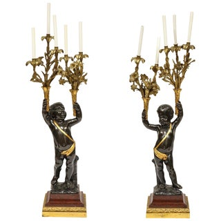 Monumental Pair of French Gilt and Patinated Bronze and Rouge Marble Candelabra For Sale