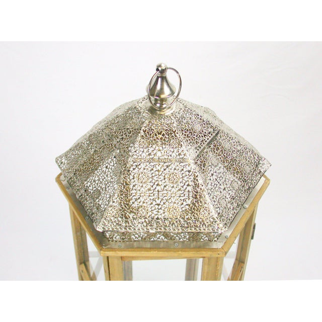 Tall Rustic Bohemian Candle Lantern with Lace Metal Roof - Image 4 of 4